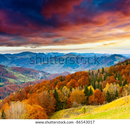 Majestic sunset in the winter mountains landscape. Dramatic sky. #86543017