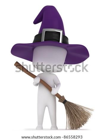 3D Illustration of a Kid Holding a Broomstick