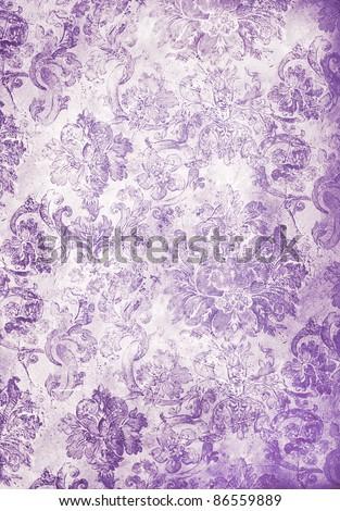 cool retro floral wallpaper in purple