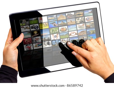 Touch pad with multimedia icons on the screen. All photos coming from my gallery.