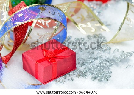 gift boxes and christmas decorations #86644078