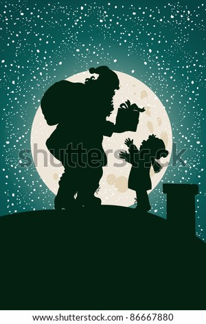 Vector illustration, silhouette of Santa sharing the presents, card concept.