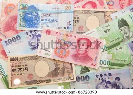 Background of asian currency (include Korean Won, Taiwan dollar, Chinese Money yuan , Hong Kong Dollar, japanese Yen) #86728390
