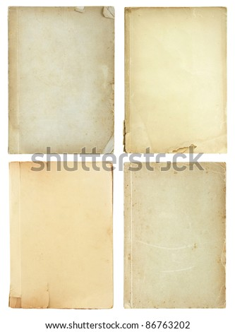 set of old book pages isolated on white background #86763202