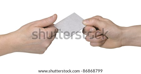 studio photography of two hands handover a unlabeled card in white back