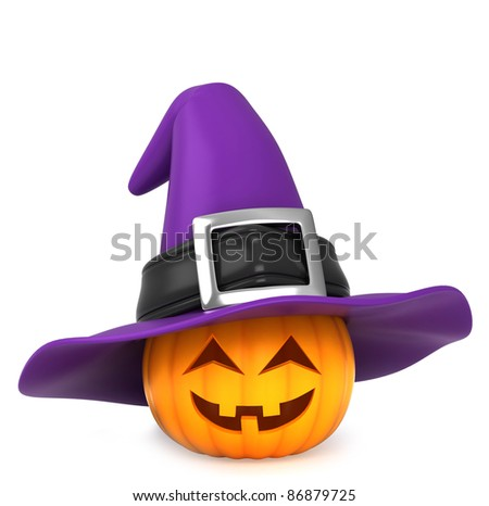 3D Illustration of a Pumpkin Wearing a Witch Hat