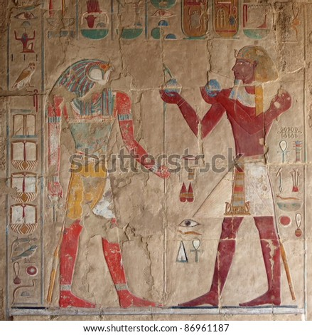 colored stone relief at Deir el-Bahri in Egypt #86961187