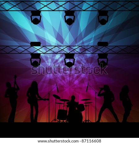 Rock band vector background with neon lights #87116608