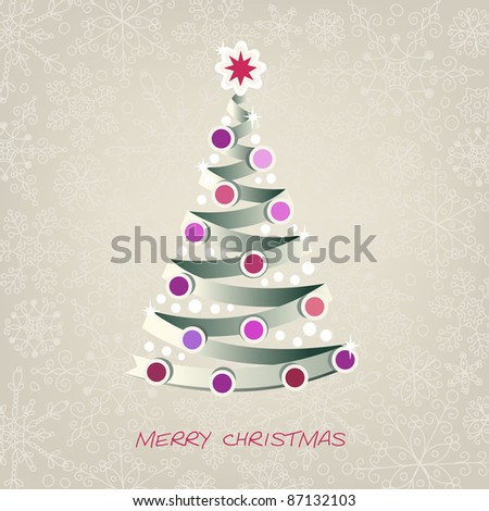 Greeting card with paper christmas tree #87132103