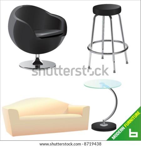 modern furniture 6 vector #8719438