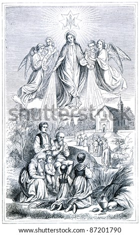 "Old engravings. Ave Maria! The book ""History of the Church"", circa 1880"