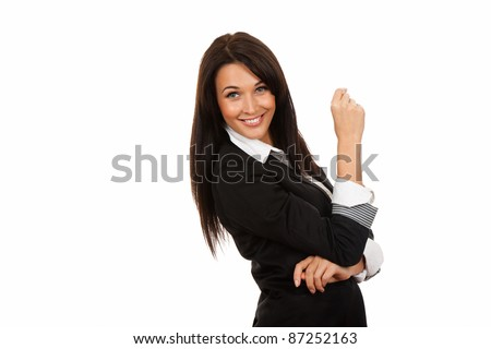 Smiling business woman standing, isolated over white background #87252163