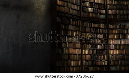 Old Big Library with staircase behind the concrete wall #87286627