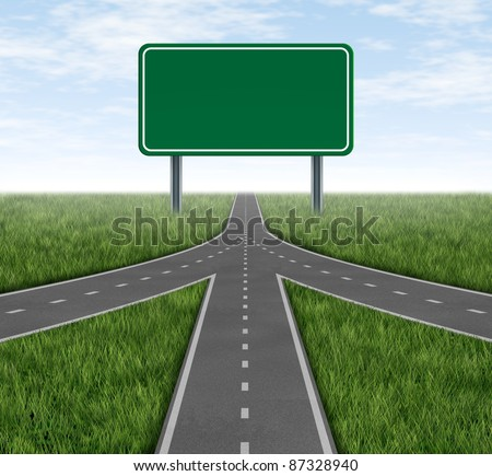 Teamwork and partnerships connecting on the same path as a team sharing the same strategy and vision for the success of a company by working together merging as one with a blank green highway sign. #87328940