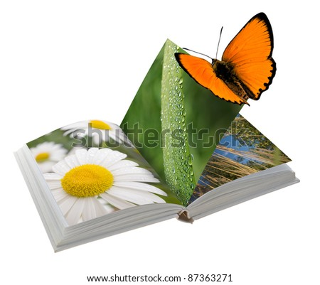 Open book with pictures of nature. Isolated on white background