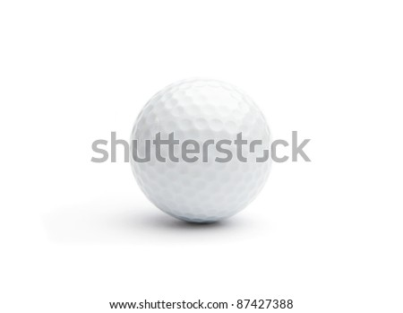 Close up of a golf ball on white background #87427388
