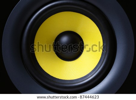 Part of yellow modern subwoofer #87444623