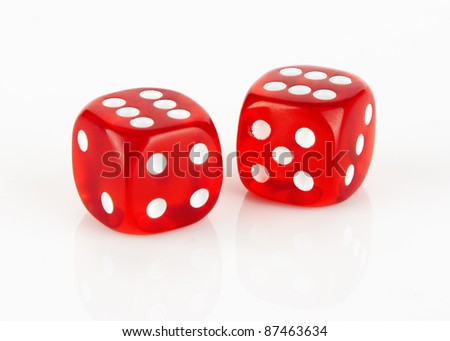 Red and white dices on a white background #87463634