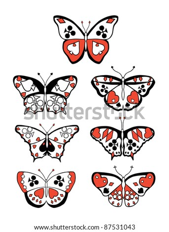 Collection of seven butterflies with suits on their wings