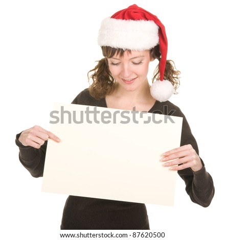 young girl in Santa hat gesturing #87620500