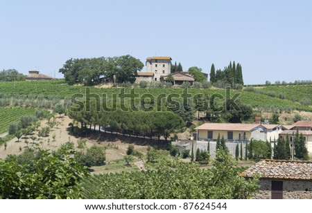 scenery around Gaiole near Castle of Brolio in the Chianti region of Tuscany in Central Italy #87624544
