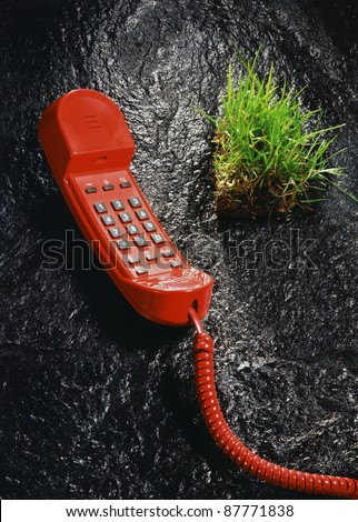 weird surreal picture showing a red phone and a piece of green grass on black stone surface