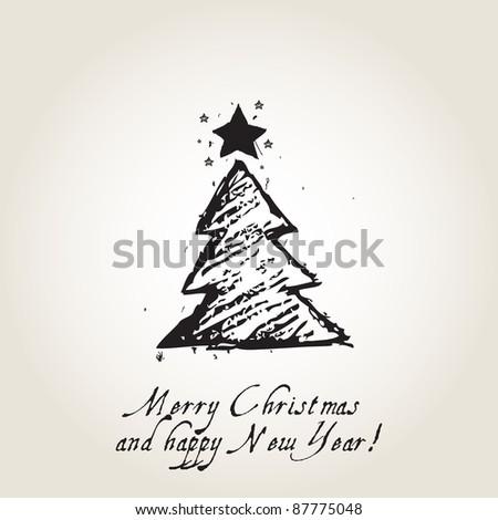 Christmas card with ink Christmas tree, vintage