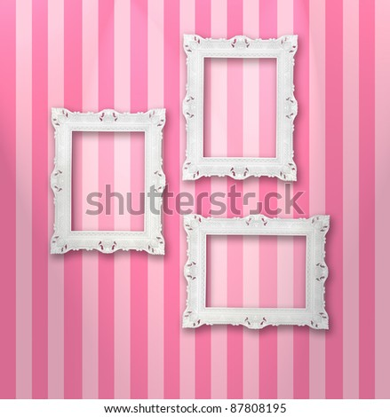 Set of white ornamental frames on a stripy wallpaper, similar available in my portfolio
