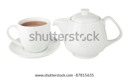 Cup of tea and teapot isolated on a white #87815635