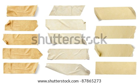 collection of  various adhesive tape pieces on  white background. each one is shot separately #87865273