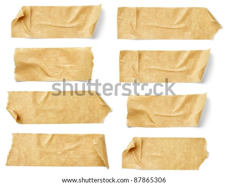 collection of  various adhesive tape pieces on  white background. each one is shot separately #87865306