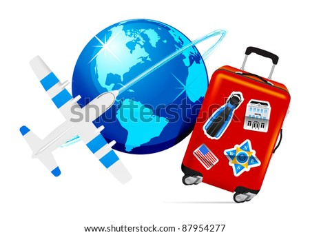 Airplane Travel with Suitcase and globe on white background