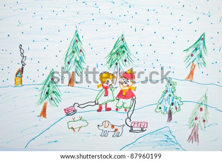 Child's painting of Christmas scene #87960199