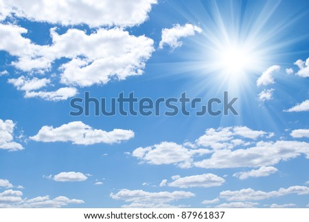 Blue sky with clouds and sun #87961837