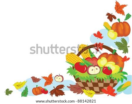 Thanksgiving day,corner ,decor with basket.