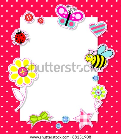 Baby girl card with scrapbook elements
