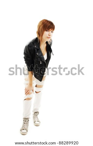 Portrait of a punk girl, isolated on white background #88289920