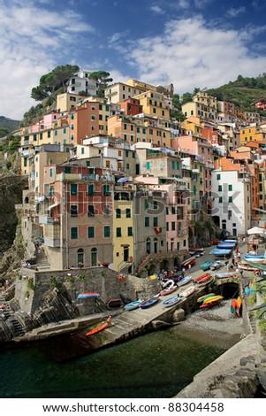 Fishing village of Riomaggiore, Liguria, Italy. #88304458