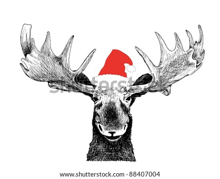 holiday scene of black ink hand drawn comic animal sketch of funny Christmas moose head and antlers, humorous red santa claus hat illustration drawing isolated on white for fun Christmas card humor