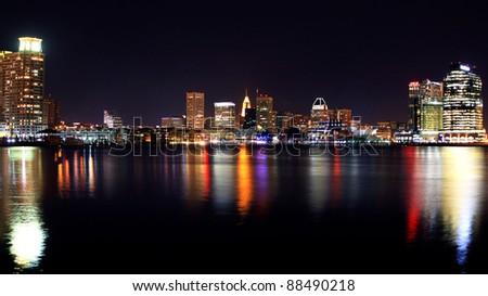 Baltimore Inner Harbor Cityscape night shot