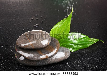 spa stones with water drops and leaves on black background #88563553