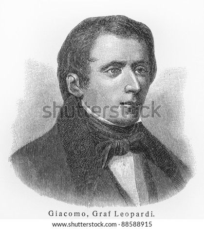 Giacomo Leopardi - Picture from Meyers Lexicon books written in German language. Collection of 21 volumes published between 1905 and 1909.