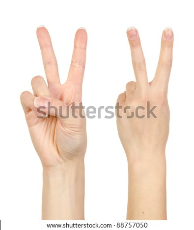 Woman hand making sign. Isolated on white background #88757050