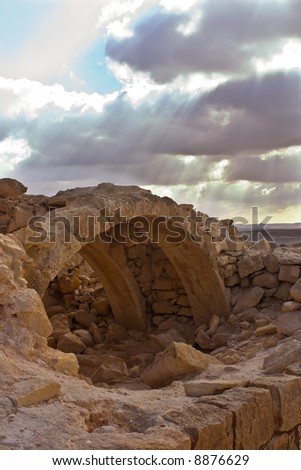 Ruins of ancient city under the cloudy sky #8876629