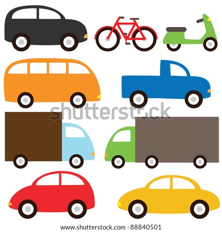 Transport set - cartoon cars, lorry, truck, bicycle, bus and motorcycle. Raster version.