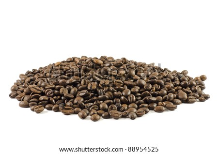 Handful of coffee beans isolated on white background #88954525