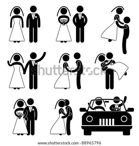 Wedding Bride Bridegroom Married Marry Marriage Car Icon Symbol Sign Pictogram #88965796