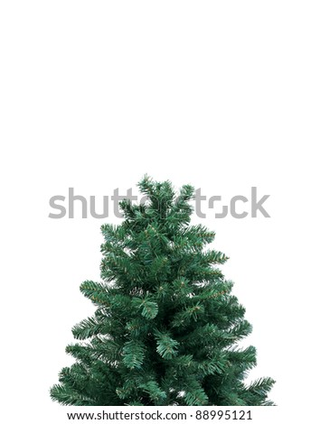 top of a christmas tree over white #88995121