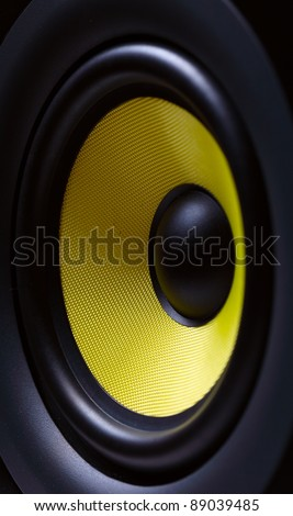 Sound system with yellow subwoofer #89039485