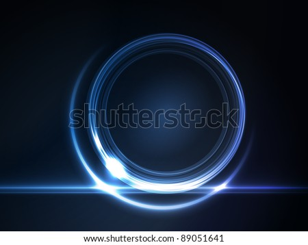 Blue light effects on round placeholder for your text on dark background. Vector available.